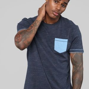 Fashion Nova Shirts - Dark and light blue pocket t shirt NWT